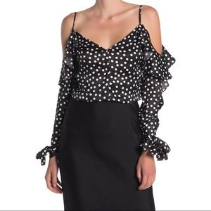 Dress Forum Polka Dot Cold Shoulder Top Size S